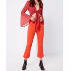 BDG | Cropped Kick Flare Orange High Waist Pants
